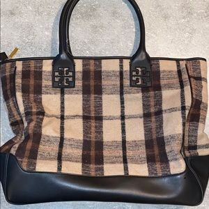 Tory Burch Plaid Wool and Leather Tote